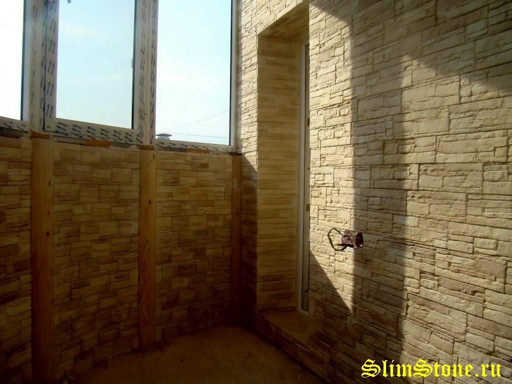 Оформление балкона лоджий из искусственного камня гипсокамня.